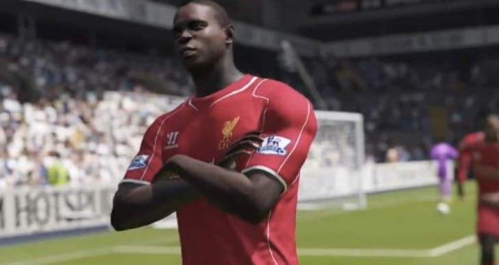 FIFA 15 Balotelli celebration with Liverpool squad