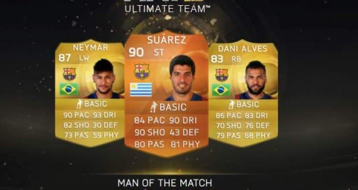 Suarez MOTM card live on FIFA 15 FUT