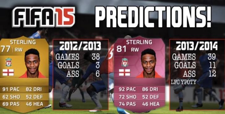 FIFA 15 Sterling rating joins Liverpool predictions