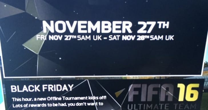 FIFA 16 Black Friday tournament for 8,000 coins jackpot