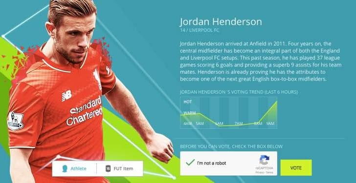 Jordan Henderson winning FIFA 16 UK cover vote