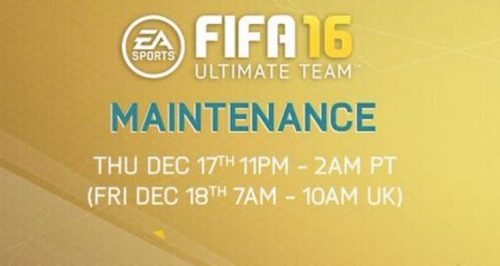 FIFA 16 servers down for 3 hour maintenance