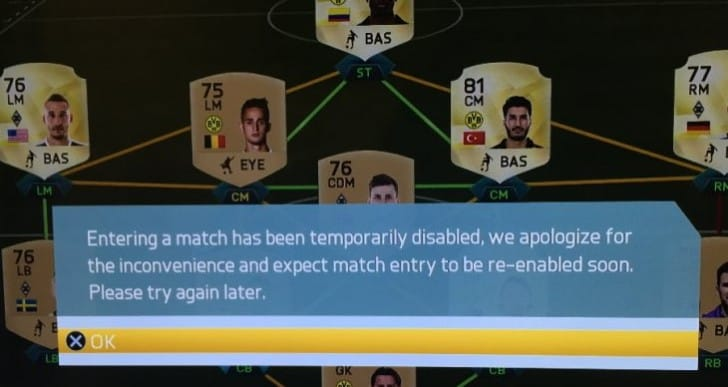 FIFA 16 servers still down, entering match online disabled