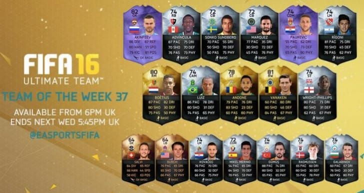 FIFA 16 TOTW 37 team revealed today