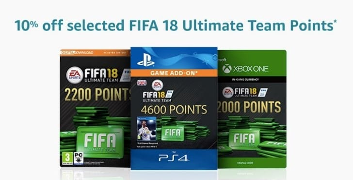 FIFA 18 Points 10% off code with Amazon Prime Student