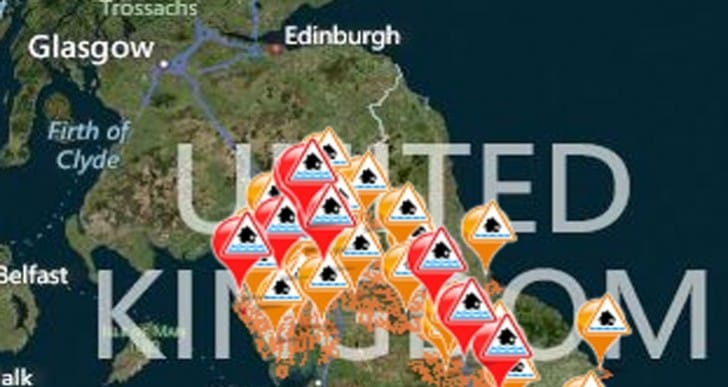 UK flood warnings today by app and map