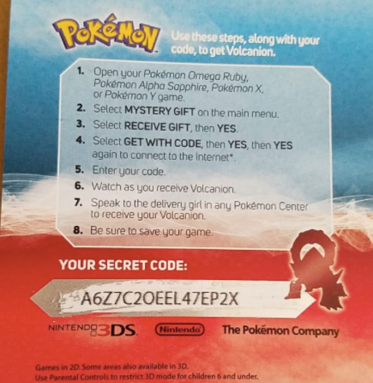 pokemon y codes for mystery gift 2017