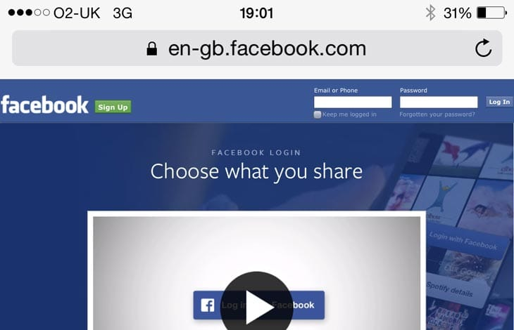 facebook login site mobile