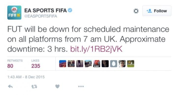 FIFA 16 FUT servers down with 3 hour maintenance