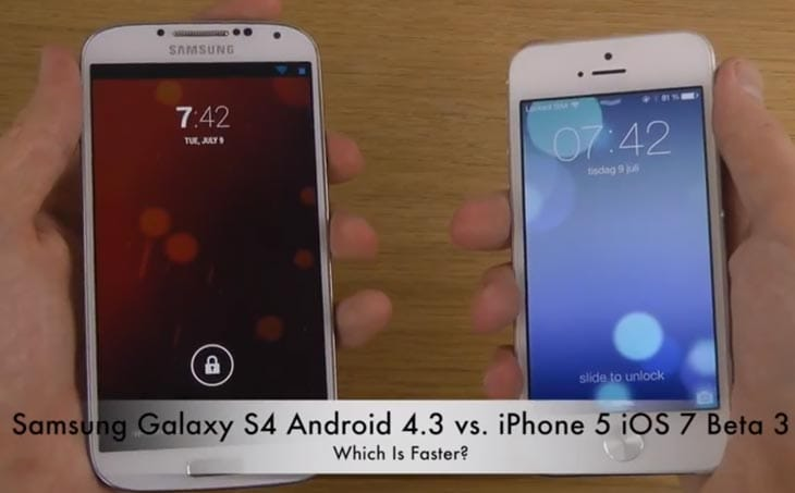 Galaxy S4 vs. iPhone 5 and iOS 7 Beta 3 vs. Android 4.3