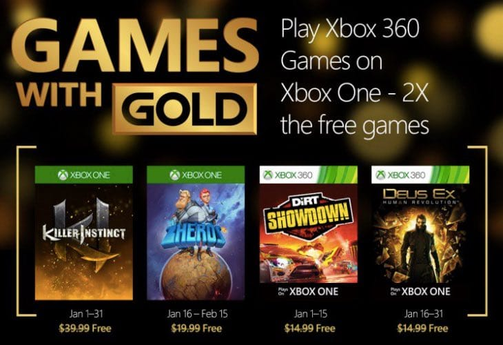 Xbox Games with Gold January 2016 with AAA lineup