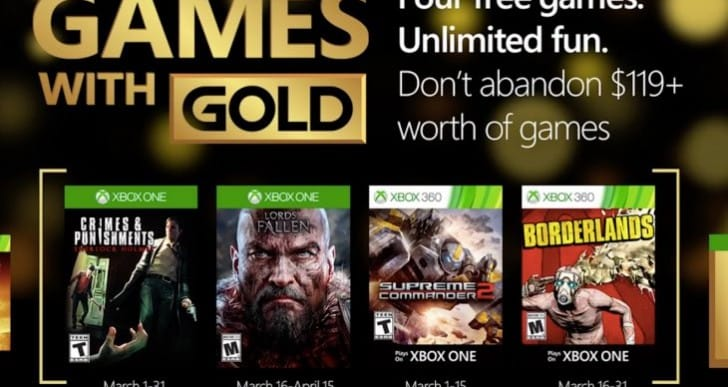 Games with Gold March 2016 confirms another great month