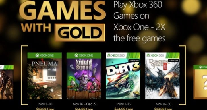 Xbox Games with Gold November 2015 confirmed