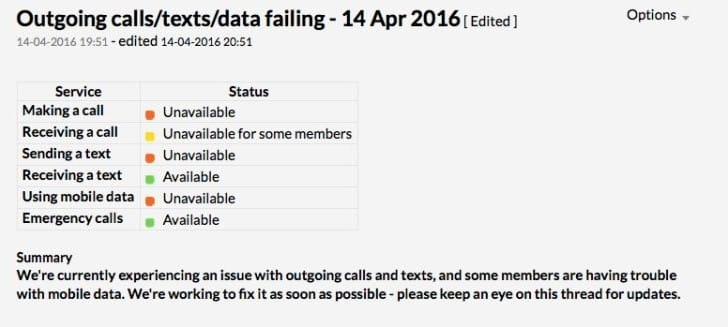 Giffgaff down on April 14 with data, calls not working