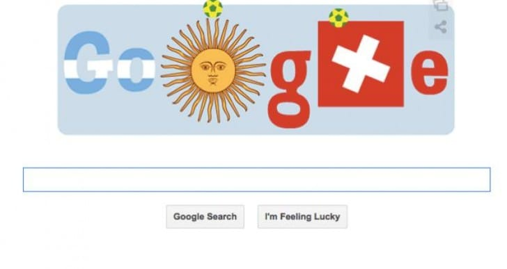Google Doodle with Argentina Vs Switzerland lineups