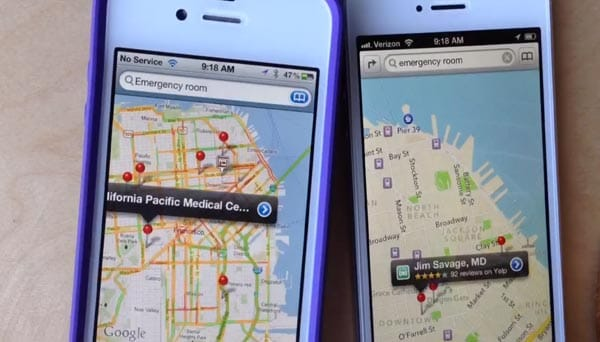 Apple iOS 6 maps vs. Google maps visually