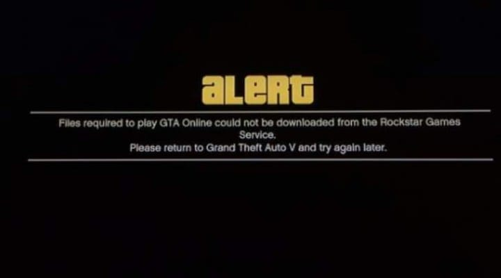 GTA Online down today with files required error