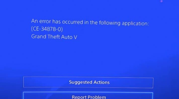 GTA V PS4 not loading with CE-34878-0 error