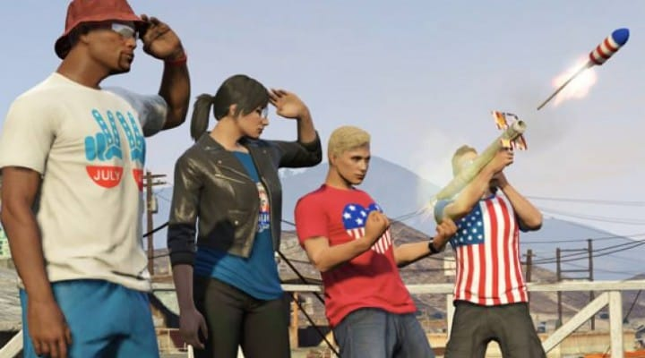 GTA V 4th of July Fireworks with Rocket Launcher