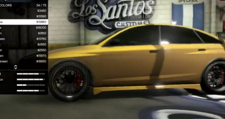 GTA V Online lacks gold paint job