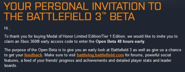 How to redeem early access to the Battlefield 3 beta (Xbox 360