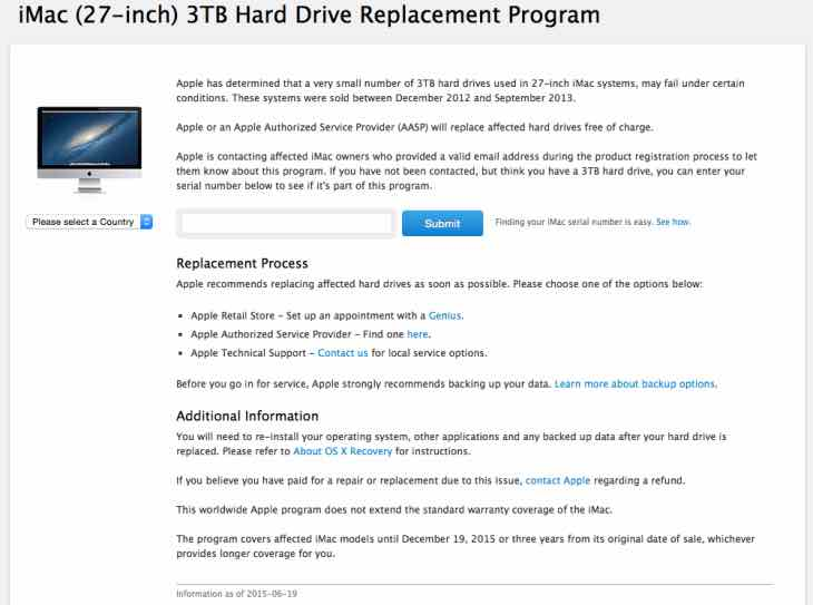 iMac Replacement Program
