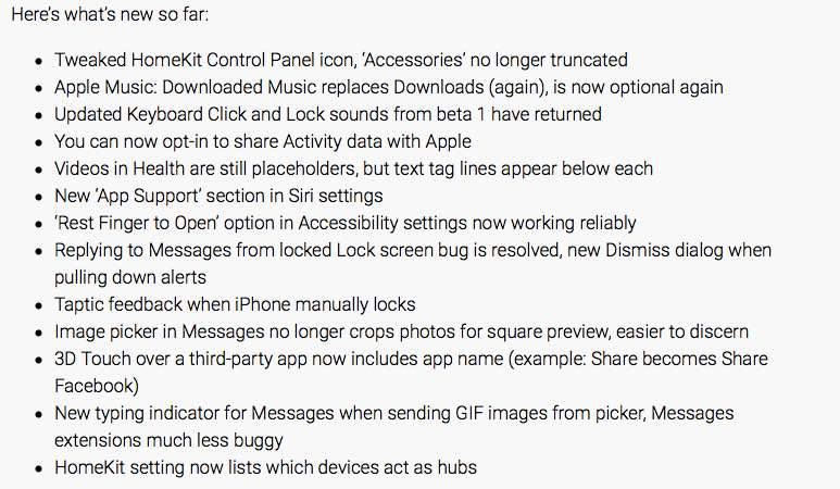 iOS 10 beta 3 release notes