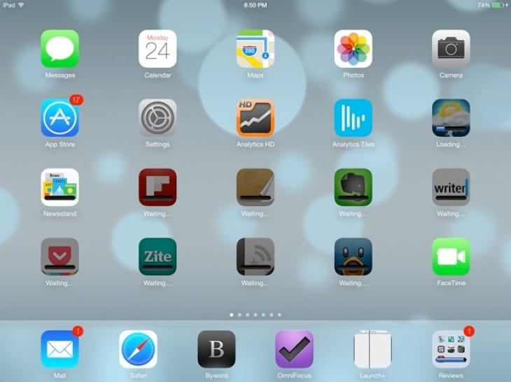 iOS 7 apps for iPad stuck in waiting