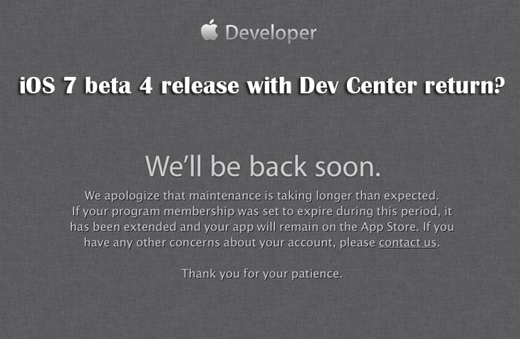 iOS 7 beta 4 release with Dev Center return