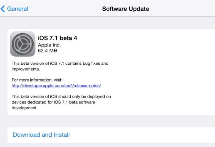 iOS 7.1 Beta 4 update live, prolongs public release date