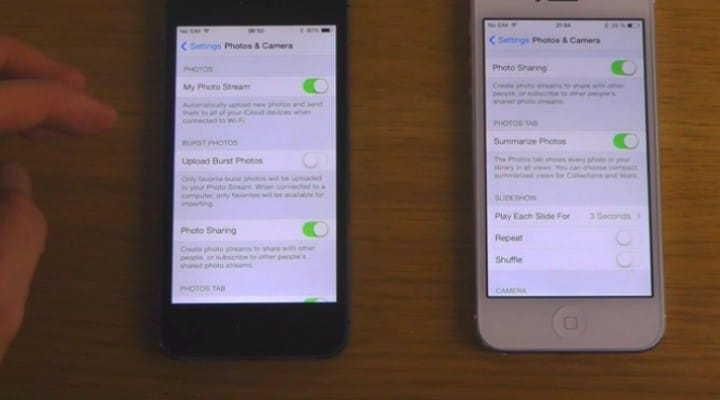 iOS 7.1 beta vs. 7.0.4 on iPhone 5S and 5 respectively