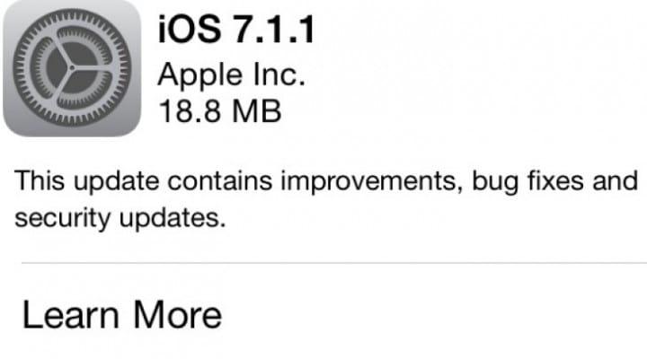 iOS 7.1.1 update live, prompts passcode