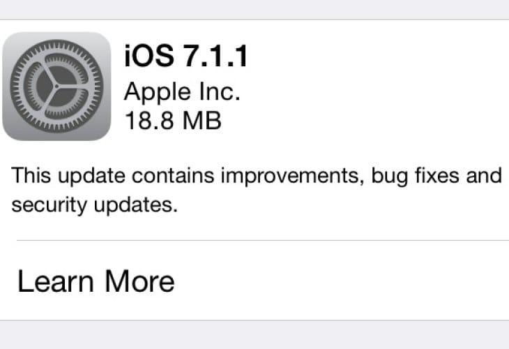 iOS 7.1.1 update live, prompts password