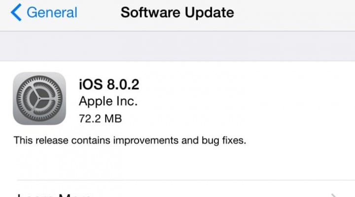 iOS 8.02 update full release notes