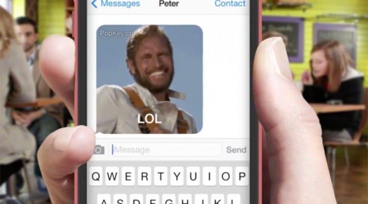 PopKey iOS 8 animated GIF keyboard app