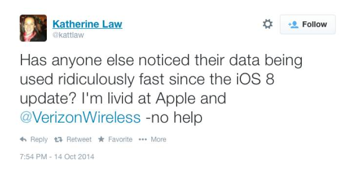 iOS 8 Verizon data problems