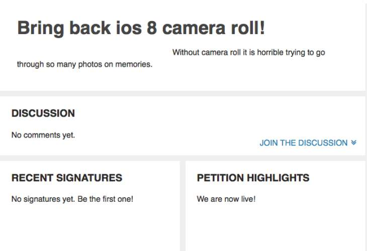 iOS 8 missing camera roll petition