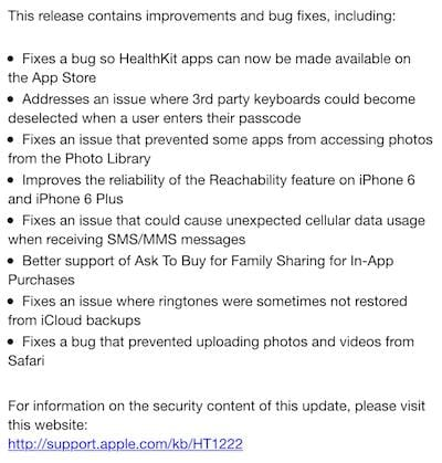 iOS 8.02 update release hopes