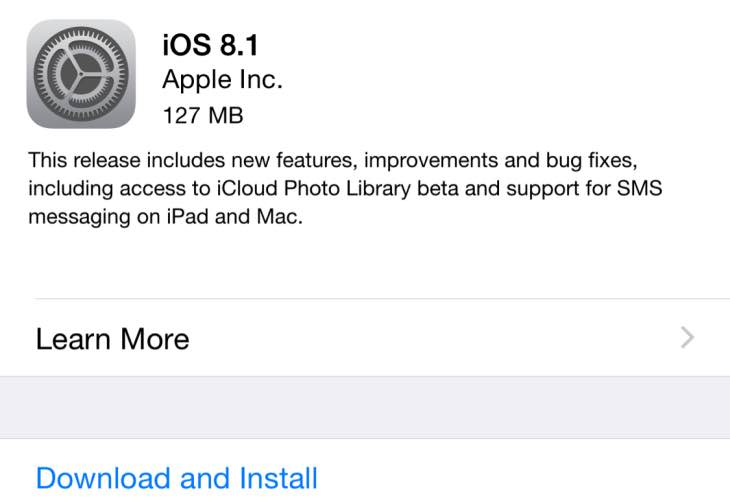 iOS 8.1 update live with release notes