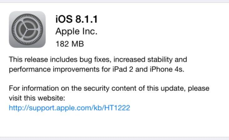 iOS 8.1.1 update concerns