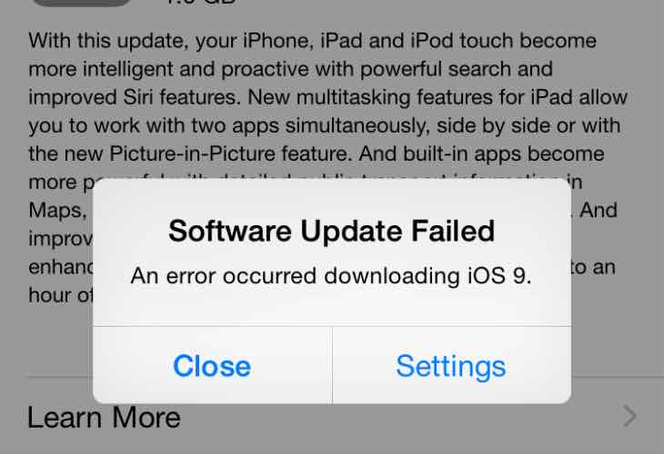 iOS 9 software update failed, an error occured