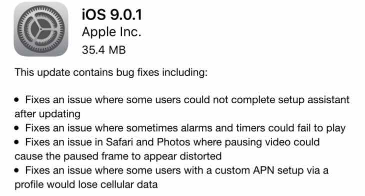 iOS 9.0.1 update release notes live