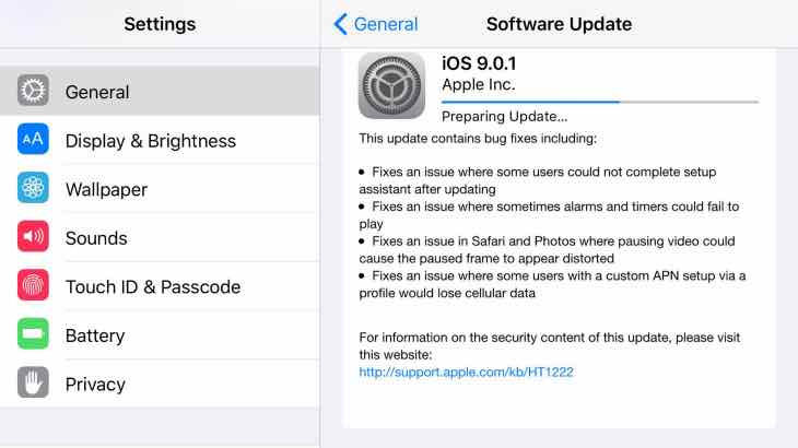 iOS 9.0.2 update needed
