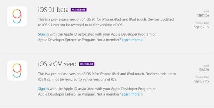 iOS 9.1 beta live with 9.0 GM seed