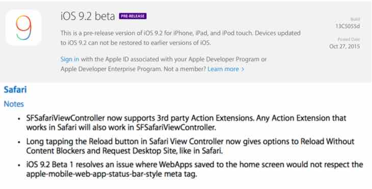 iOS 9.2 beta 1 release notes live