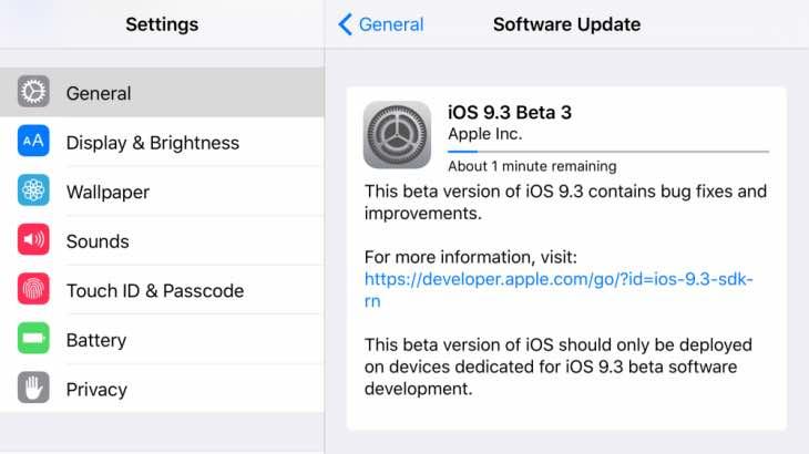 iOS 9.3 public beta 3 release