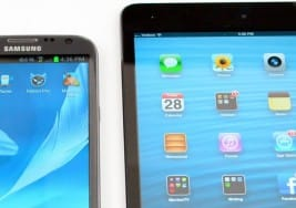 iPad mini 2 vs. Galaxy Note 3, big screen size difference