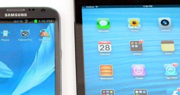 iPad mini 2 vs. Galaxy Note 3, big screen size difference