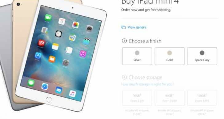 iPad mini 4 UK price and delivery details