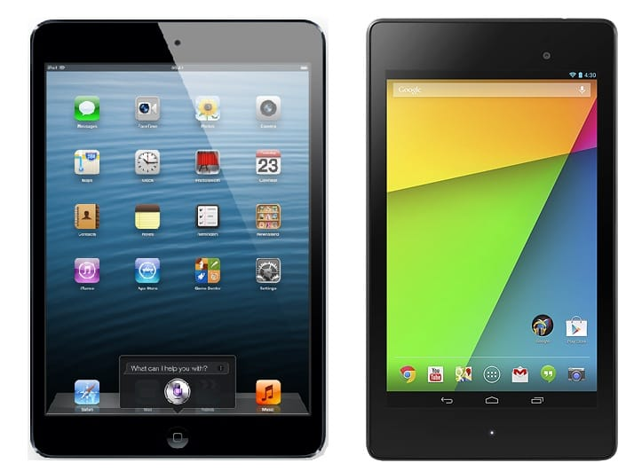 iPad mini and Nexus 7 in 2014